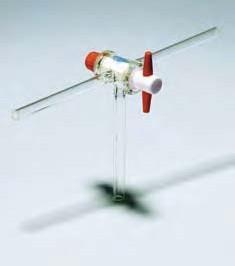 Кран соединительный трехходовой, D-2,5 мм, D отвода-9 мм, L-100 мм с ключом из PTFE (Pyrex)