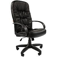 Кресло руководителя Chairman 416 PL, экокожа черный глянец, механизм качания