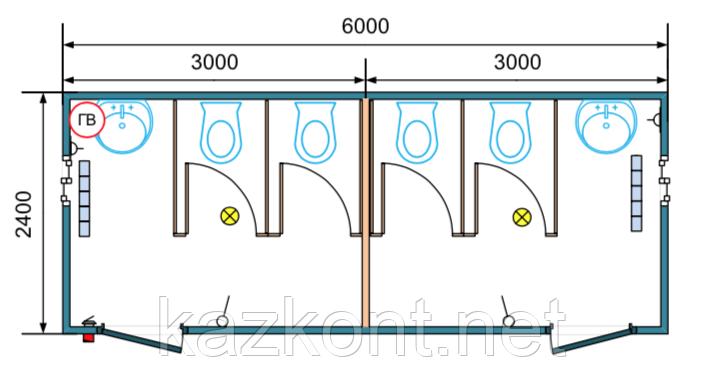 Контейнер санузел 20 ф утепленный под туалет