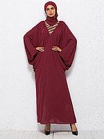 Стильное вечернее платье восточного стиля из шифона цвета красного вина