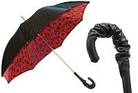 Элитный женский зонт с кожаной ручкой Pasotti. Ручная работа