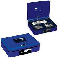 Ящик для денег, ценностей, документов, печатей BRAUBERG, 90х240х300 мм, с ключевым замком, темно-синий, 290458