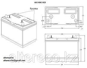 Тяговый аккумулятор U. S. Battery US 31 DCXC (12В, 130Ач), фото 2