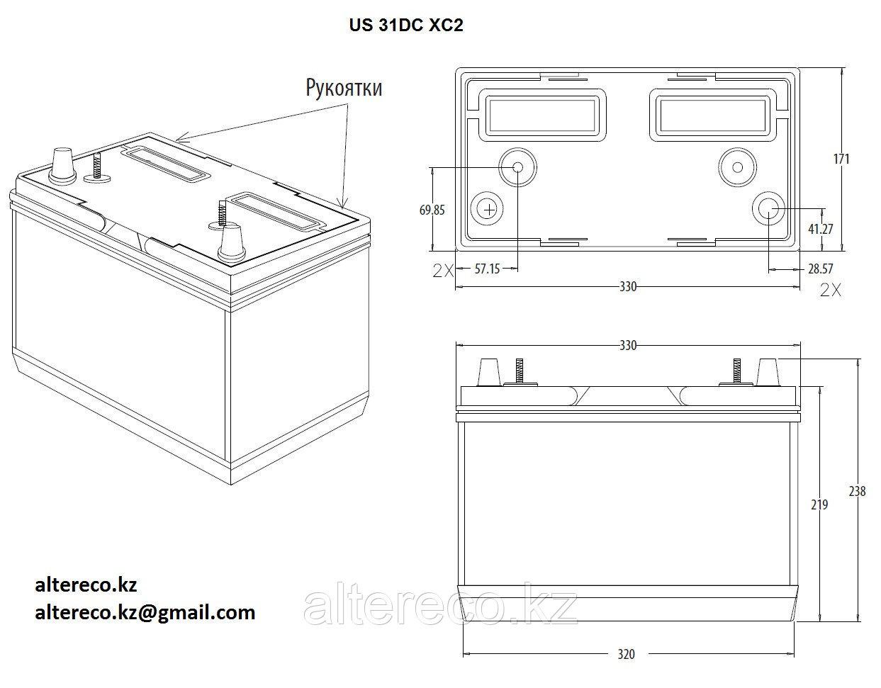 Аккумулятор для техники Bogaerts US 31 DCXC (12В, 130Ач) - фото 2