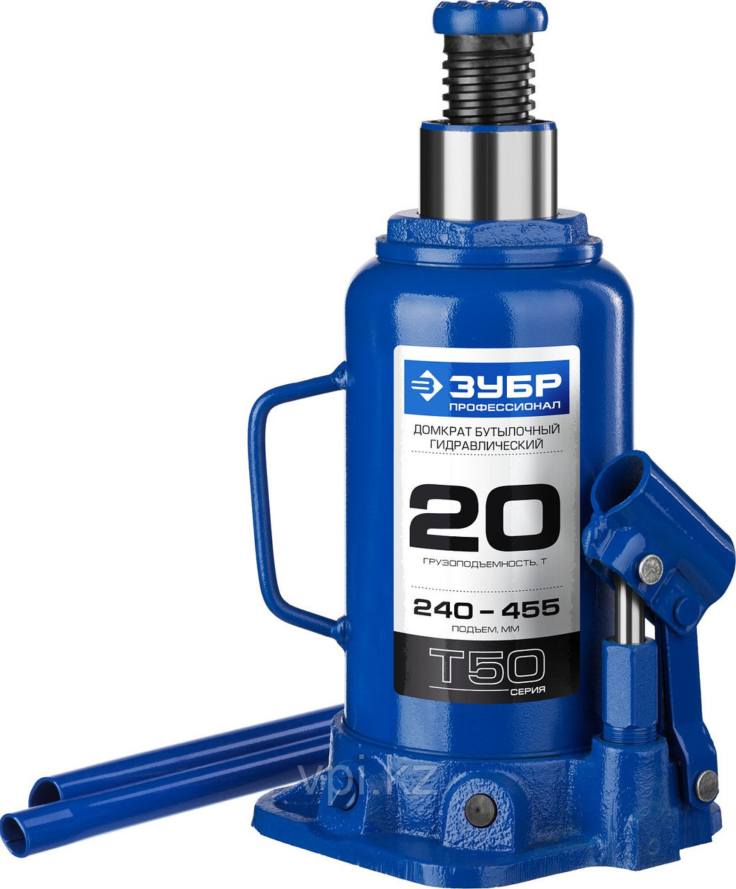 Домкрат гидравлический бутылочный Т50, 20т, 240-455мм. ЗУБР Профессионал