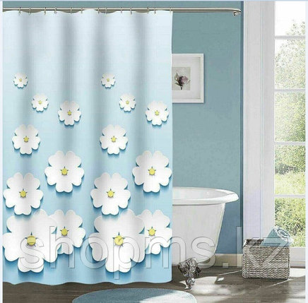 Шторка для ванной комнаты 180 х 180 (ЕСО ткань) Ромашки, фото 2