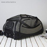 Сумка дорожная на колёсах, 3 наружных кармана, карман для обуви, цвет чёрный/хаки