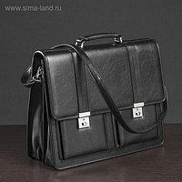 Сумка-портфель мужская на замке, 3 отдела, 2 наружных кармана, длинный ремень, цвет чёрный