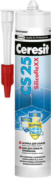 Ceresit CS25 MicroProtect Высокоэластичный силиконовый шов для стыков и примыканий, 280мл. (манхеттэн).