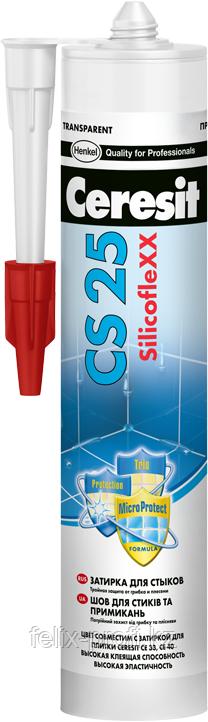 Ceresit CS25 MicroProtect Высокоэластичный силиконовый шов для стыков и примыканий, 280мл. (прозрачный).