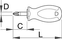 Отвёртка крестовая PZ укороченная, рукоятка TBI 628TBI, фото 2