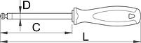 Отвёртка шестигранник с закруглённым жалом, рукоятка TBI 620TBI, фото 2