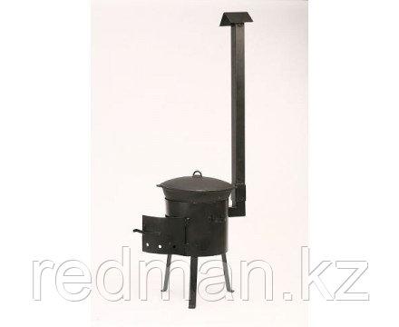 Печь из усиленной стали с трубой и дверцей 16 л
