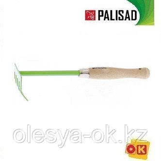 Грабли 5-зубые, 90 мм, дер. рукоятка 340 мм.  PALISAD, фото 2