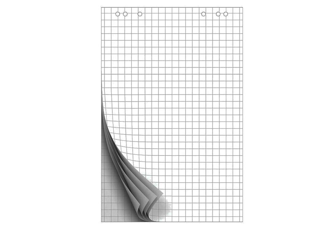 Блок бумаги для флипчарта OfficeSpace 67,5х98 см, в клетку, 10 листов/рул
