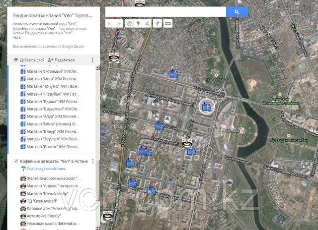 Найти на карте Астаны торговые автоматы ven