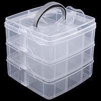 Контейнер трехярусный 15*15*12,5 см прозрачный