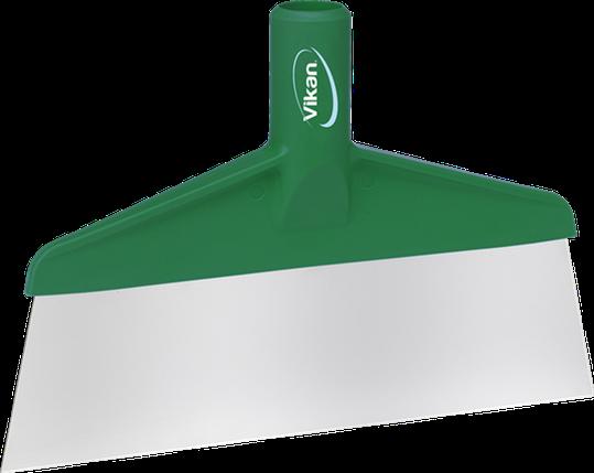 Скребок с рабочей пластиной из нержавейки для столов и полов, 260 мм, зеленый цвет, фото 2