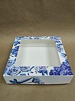 Коробка с окном 15,5*15,5*4см цветы синие