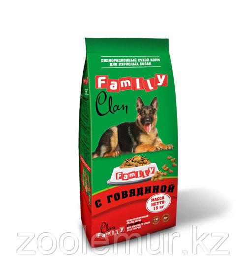 Clan Family сухой корм для собак всех пород c говядиной 15кг