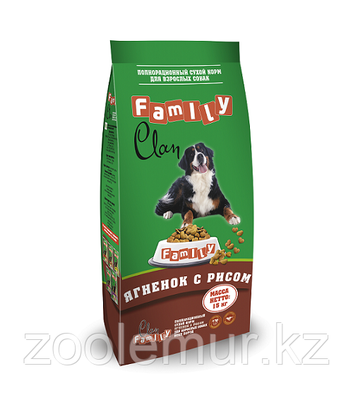 Clan Family сухой гипоаллергенный корм для взрослых собак с ягненком и рисом 15кг