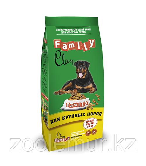 Clan Family сухой корм для взрослых собак крупных пород с курицей 15кг