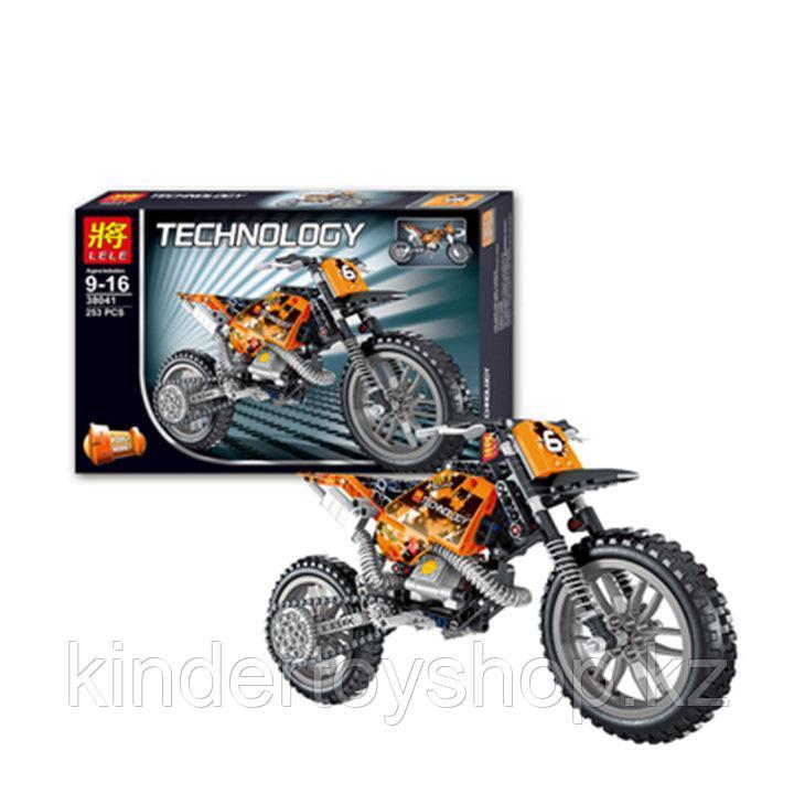 Конструктор LELE 38041 Technic Кроссовый мотоцикл 38041 (Аналог LEGO Technic 42007) 253 дет