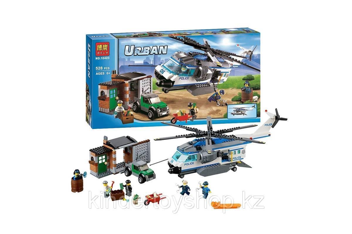 Конструктор BELA 10423 Вертолётный патруль аналог Лего City 60046