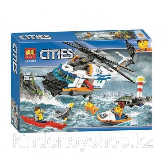 """Конструктор BELA  City 10754 """"Сверхмощный спасательный вертолет"""" аналог LEGO 60166 439 деталей,"""