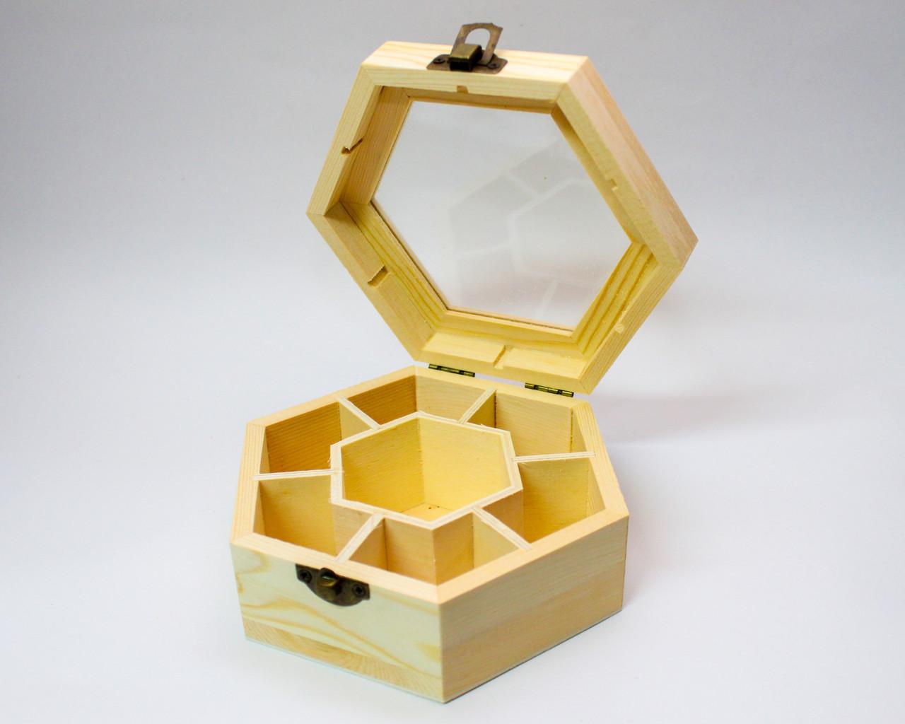 """Заготовка для декора """"Шкатулка-шестиугольная"""", деревянная, D 13 см"""
