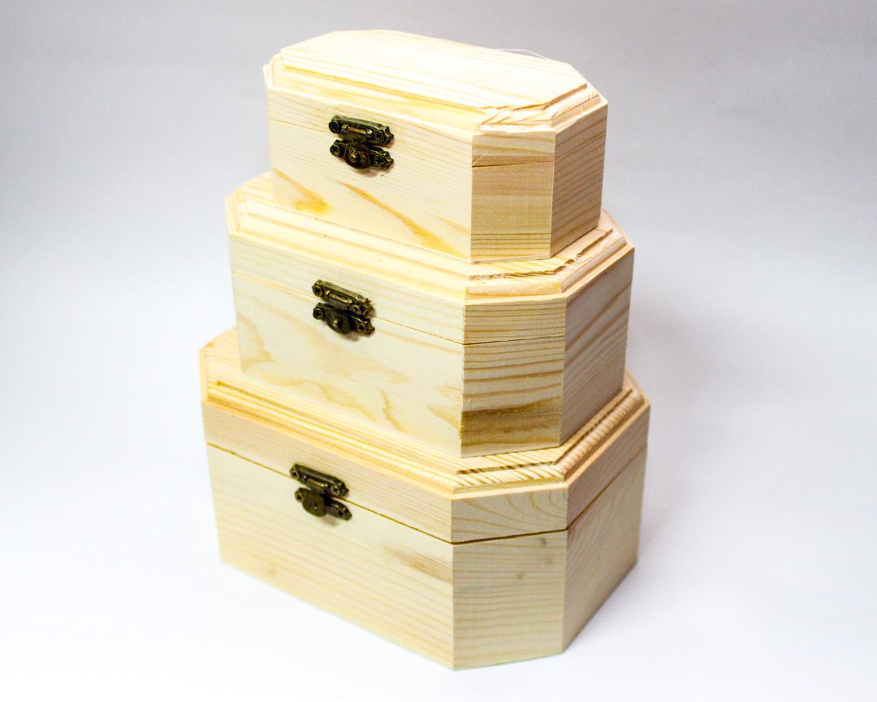 """Заготовка для декора """"Шкатулка-восьмиугольная"""", деревянная, 3в1"""