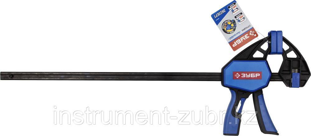 """Струбцина ЗУБР""""ПРОФЕССИОНАЛ""""ручная пистолетная, корпус нейлон,армир фиберглассом,метал рейка,450/645мм,150кгс"""
