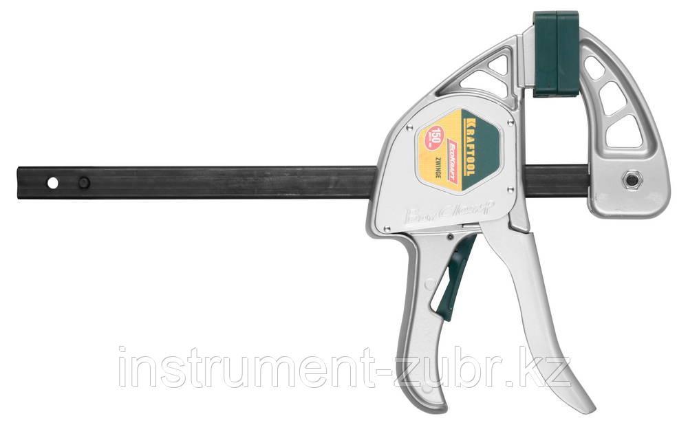 """Струбцина """"EcoKraft"""" ручная пистолетная, KRAFTOOL 32228-15, металлический корпус, 150/350мм, 200кгс"""