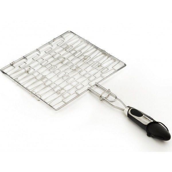 1042 FISSMAN Решетка для гриля плоская 30x26,5x1,5 см с пластиковой ручкой (хромированное покрытие)