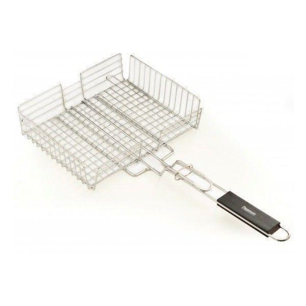 1045 FISSMAN Решетка глубокая для приготовления овощей на гриле 32x25,5x7 см с деревянной ручкой (хромированно