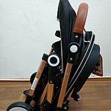 Коляска прогулочная Belecco A360 от рождения/перекидная ручка, черный, фото 4