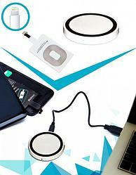 Аккумулятор беспроводной круглый для смартфонов с Lightning разъемом, белый, Алматы