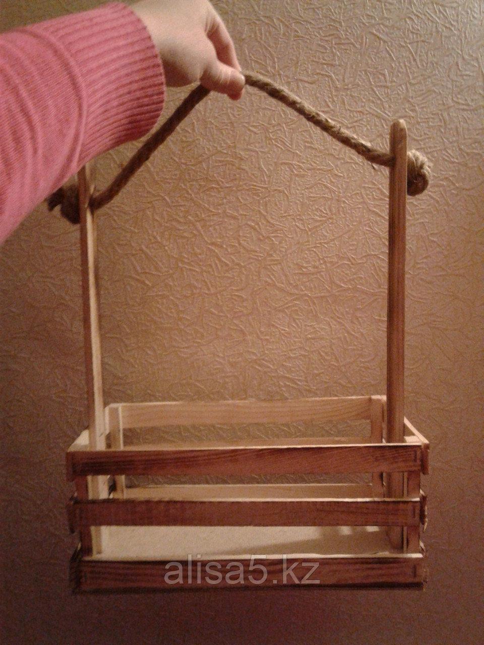 Ящик деревянный для срезанных цветов  27*14*11 см (ручка 35 см)