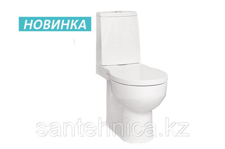 """Унитаз-компакт """"Аллегро"""" Santek Белый горизонтальный выпуск нижний подвод воды микролифт"""