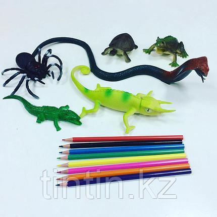 Набор из 6 резиновых пресмыкающихся животных, фото 2