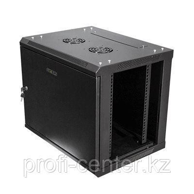 """Шкаф настенный 19"""" 12U 600х450х635 цвет черный, дверь стекло"""