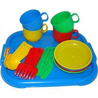 """Полесье: Набор детской посуды """"Минутка""""  с подносом на 4 персоны"""