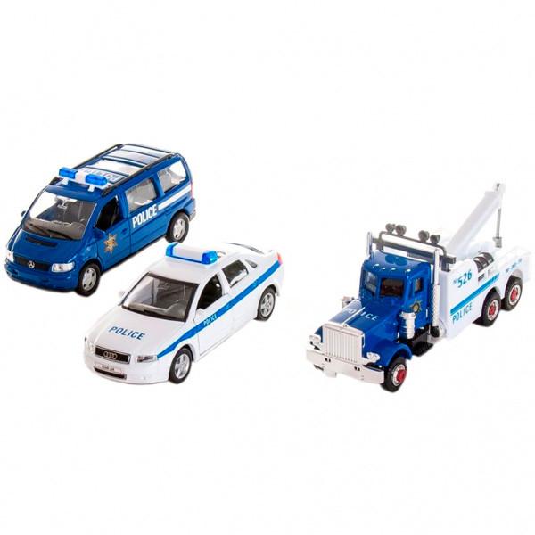 Игрушка набор машин Welly Полиция 3 шт.