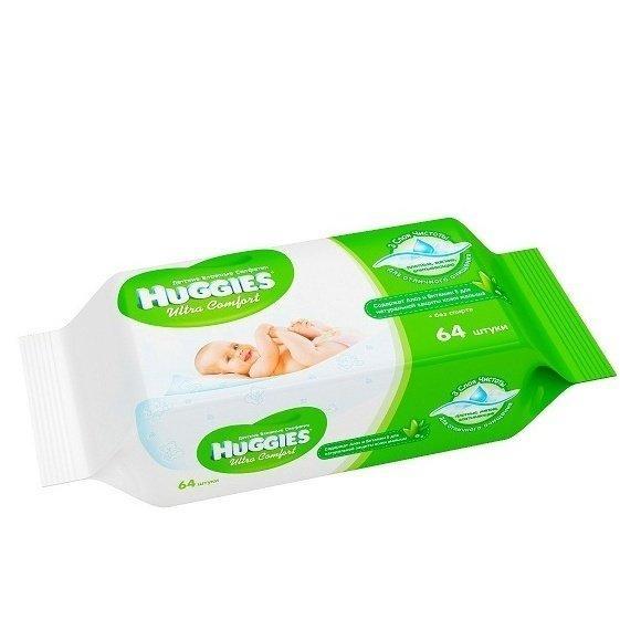 Детские влажные салфетки Huggies Ultra Comfort Aloe  64шт
