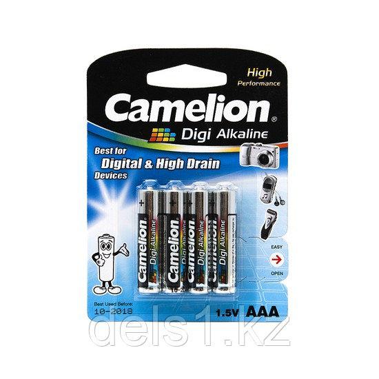 Батарейка, CAMELION, LR03-BP4DG, Digi Alkaline, AAA, 1.5V, 1250mAh, 4 батарейки, Блистер