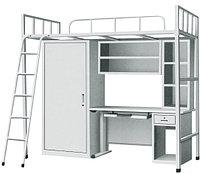 Металлическая кровать со шкафом и компьютерным столом