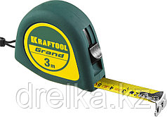 Рулетка KRAFTOOL GRAND, обрезиненный пластиковый корпус, 3м/16мм
