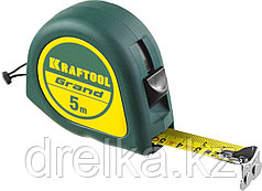 Рулетка KRAFTOOL GRAND, обрезиненный пластиковый корпус, 5м/19мм