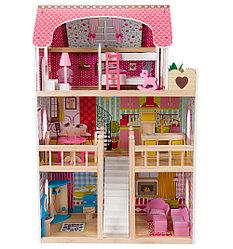 """Edufun Игровой набор """"Деревянный дом для кукол"""" с комплектом мебели 90 см"""