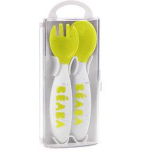 """Эргономическая ложка и вилка Beaba """"Set of 2 Age Fork"""", 913399 / Neon"""